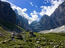 An amazing view from a mountain path in the Dolomites Italy
