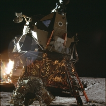 An Apollo  crew member leaving the Lunar Lander