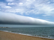 An arcus cloud called a roll cloud  January above Las Olas Beach in Maldonado Uruguay by Daniela Mirner Eberl