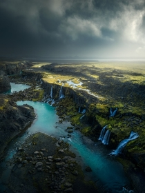 An array of streams and waterfalls in the Icelandic Highlands   Photographer Arnar Kristjansson