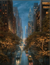 An Artist Interpretation of New York City in the fall