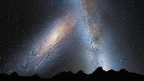 An artist rendering of what a collision between Andromeda and The Milky Way would look like in the night sky in  Billion Years