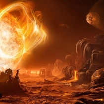 An artistic interpretation of a sunrise on the extrasolar planet Gliese D