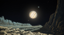An Artists impression of a View from the Surface of Ganymede with its parent Planet Jupiter Moons such as Io and Europa in the Sky