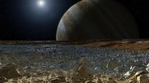 An Artists impression of The view from one of the Jupiters moons Europa