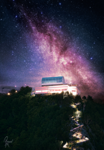 An astro composite i recently finished A long exposure of the viewpoint aksla in lesund taken with a telezoom and the milkyway taken with a mm lens stacked blended and processed in photoshop