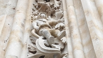 An astronaut carved in the facade of the north gate Cathedral of Salamanca Spain