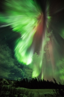 An aurora like an explosion over Donnelly Creek Alaska  Photographed by NASAs Marshall Space Flight Center