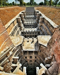 An elaborate and intricate step well in India