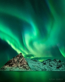 An epic night of aurora borealis in Lofoten Norway