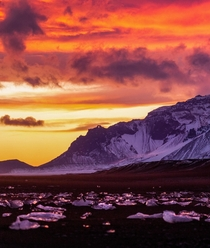 An epic sunset over Diamond Beach Iceland