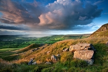 An evening rain shower over the Peak District England