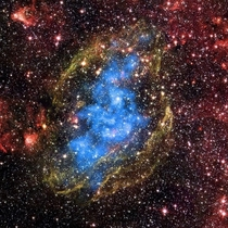 An expanding supernova remnant W is  light-years away in the constellation of Aquila The image is  light-years across