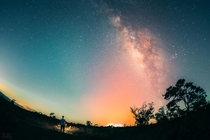An explosion of color between the Kilauea Volcano and moonrise painting the Milky Way