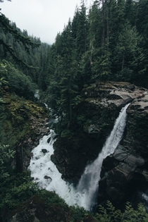 An extremely unique looking waterfall hidden away in the forests of Washington State