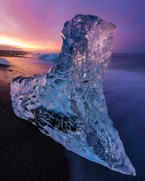 An -foot-tall chunk of ice on that famous black sand beach in Iceland