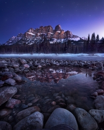 An hour before sunrise under Castle Mountain Banff Canada