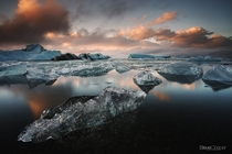 An icy dream - Setting the scene of a Jkulsrln glacier lagoon at sunset in southeastern Iceland  Photo by Steve Clasper