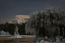 An icy night near Mount Fuji  Photographed by Yuga Kurita