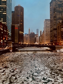 An icy view down the Chicago River tonight