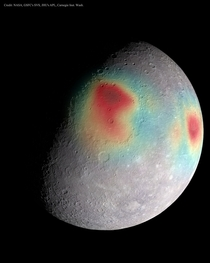 An image of Mercury with gravitational anomalies shown in false-color superposed on an image of the planets cratered surface Red hues indicate areas of slightly higher gravity which in turn indicates areas that must have unusually dense matter under the s