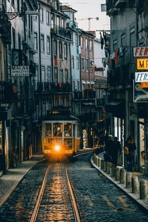An incoming tram in Lisbon