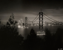 An incomplete San Francisco-Oakland Bay Bridge seen from Yerba Buena Island