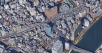 An interchange taking every space available over the streets in Tokyo Japan