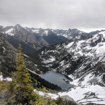 An interesting view of Lake Ann from atop a nearby mountain Maple Pass Washington