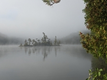 An island emerges from the fog in Algonquin Park