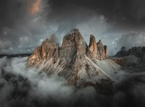 An island in the clouds Dolomites Italy  OC IG arvindj
