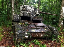 An M Stuart light tank lies at the same place where it was disabled by Japanese forces in  Kohinggo Island Solomons