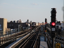 An N train approaches the switches near  St Brooklyn on the BMT West End Line