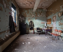 An office inside an abandoned psychiatric hospital