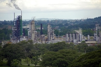An oil refinery at Pointe--Pierre Trinidad and Tobago