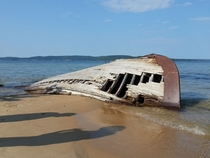 An old abandoned boat found on the shore of Lake Superior