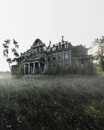 An old abandoned manor in a state of ruin