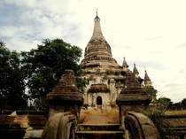 An old Buddhist temple slowly being overtaken by plants in Myanmar