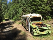 An old forest service bus in the Idaho Wilderness