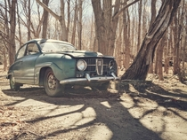 An old Saab spotted in the backwoods of Connecticut