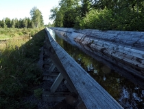 An old timber flume thats no longer in use near lgsjn Gvle Sweden