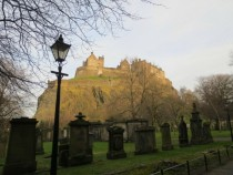 An OldAbandoned Graveyard Looking onto Edinburgh Castle in Scotland