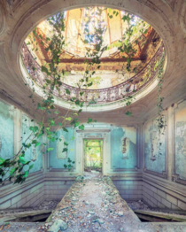 An ornately decorated room in an abandoned castle in French countryside