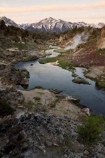 An overflowing hot creek in the eastern sierras