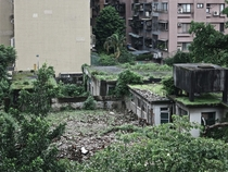 An overgrown ruin facing the Technology Building Station in Taipei