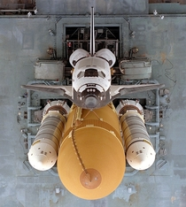 An overhead view of the Space Shuttle Atlantis at the Kennedy Space Center in August