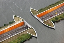 An overpass for a lake - the navigable Veluwemeer aquaduct in the Netherlands  xpost rpics