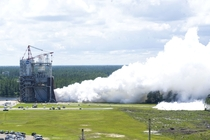 An RS- engine is tested May   on the A- Test Stand at NASAs Stennis Space Center