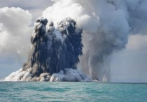 An undersea volcano eruption photos off the coast of Tonga