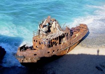 An unknown shipwrecked tugboat on the coast of Vila Nova de Milfontes Portugal  x-post from rShipwreckPorn